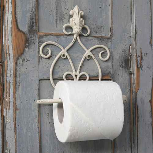 chic antique toilet paper holder with crown antik hvid