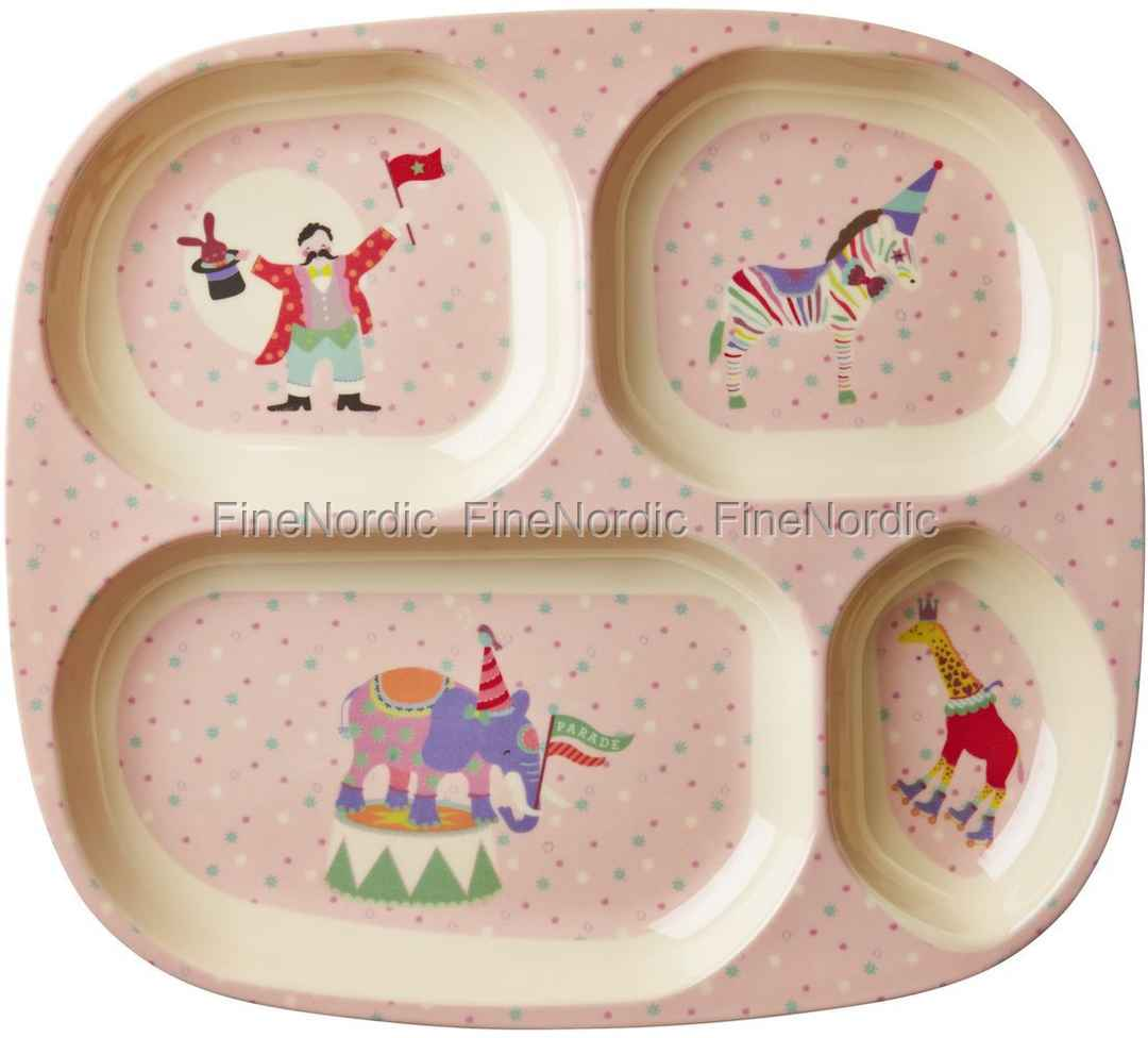 & Rice Kids 4 Room Melamine Plate with Girl Circus Print