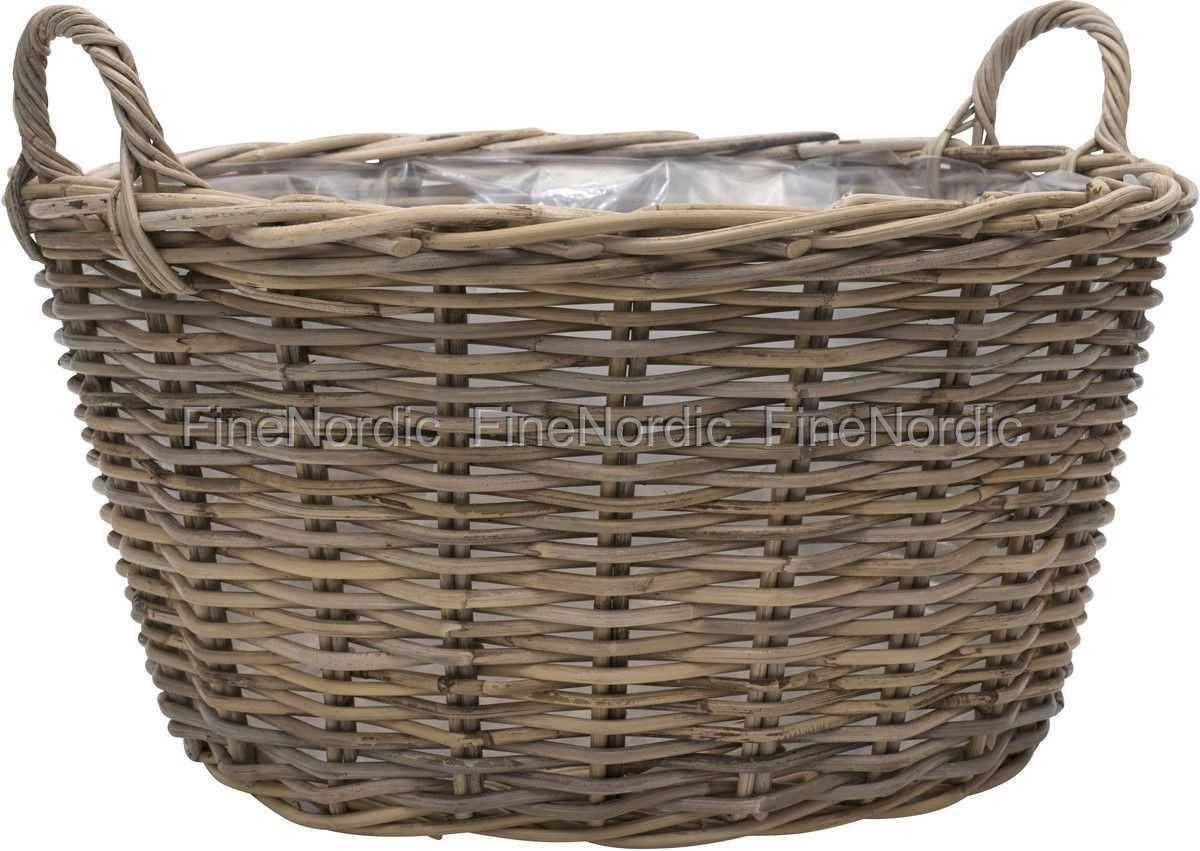 Ib Laursen Basket Round With Handles Low Design Rattan