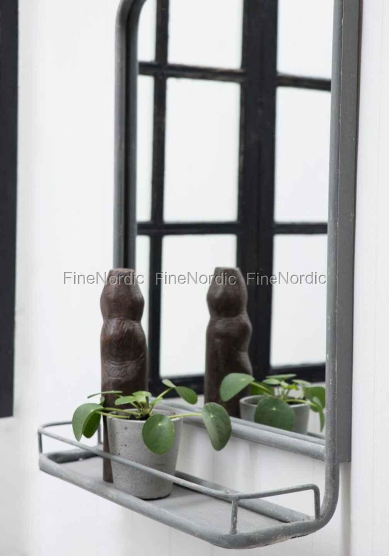 Wall Mirror With Shelf ib laursen wall mirror - metal with shelf - grey