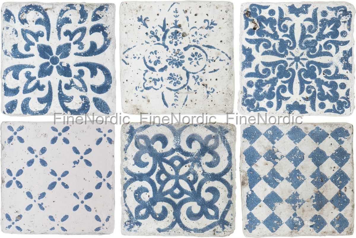 Ib Laursen Tiles Marrakech - Set of 6 Patterns in Blue - Small