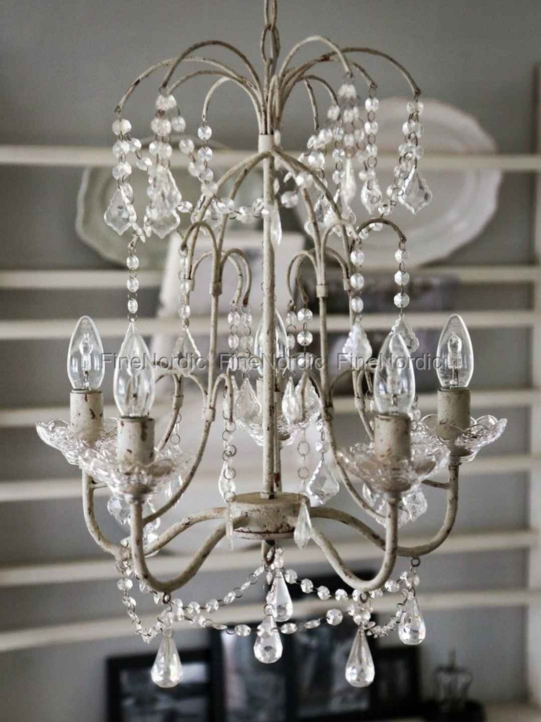 Chic antique chandelier with glass holders and 5 branches antique chic antique chandelier with glass holders and 5 branches antique white aloadofball Images