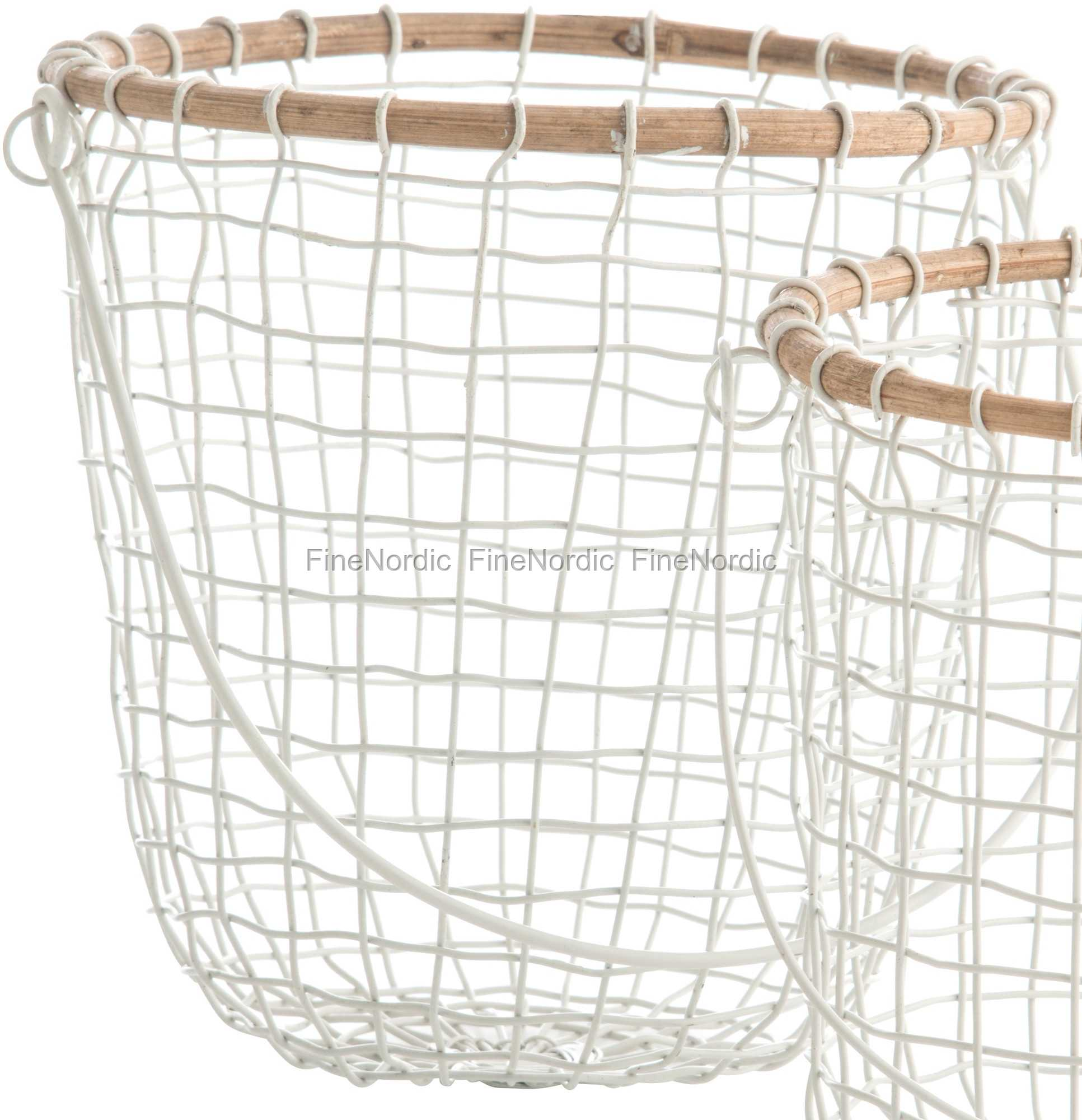 Madam Stoltz Hanging Basket Round With Bamboo White Large
