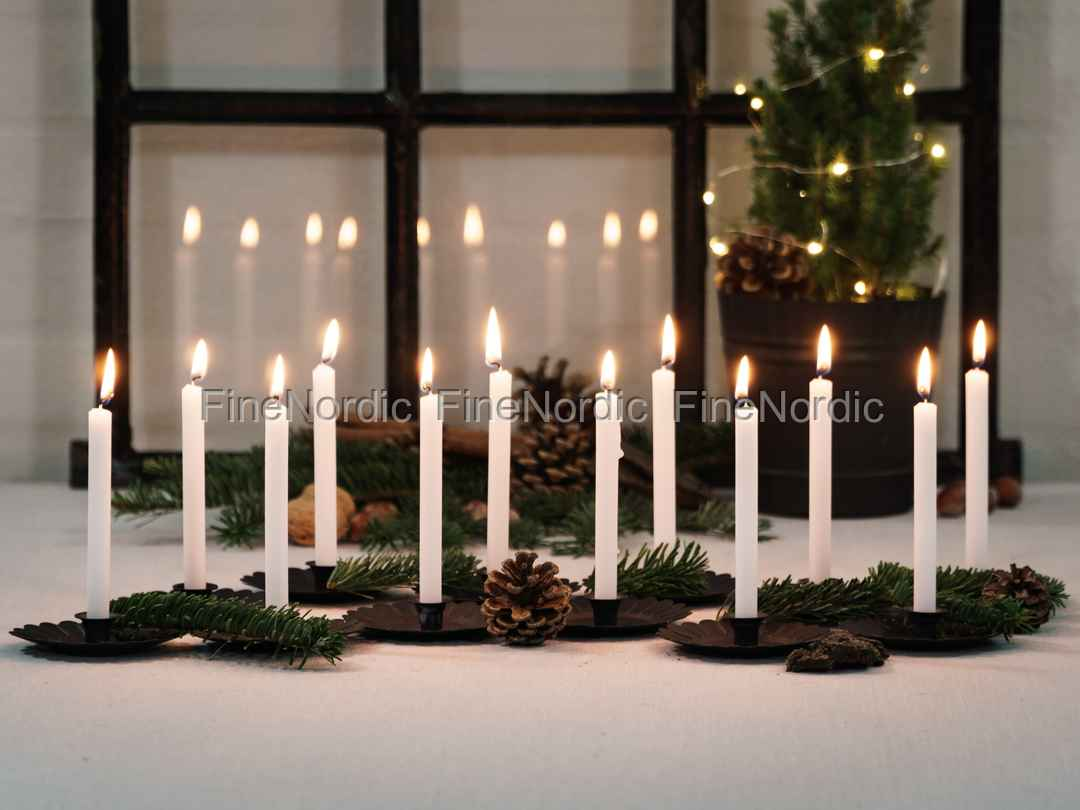 Chic Antique Christmas Tree Candles White 12 Pcs