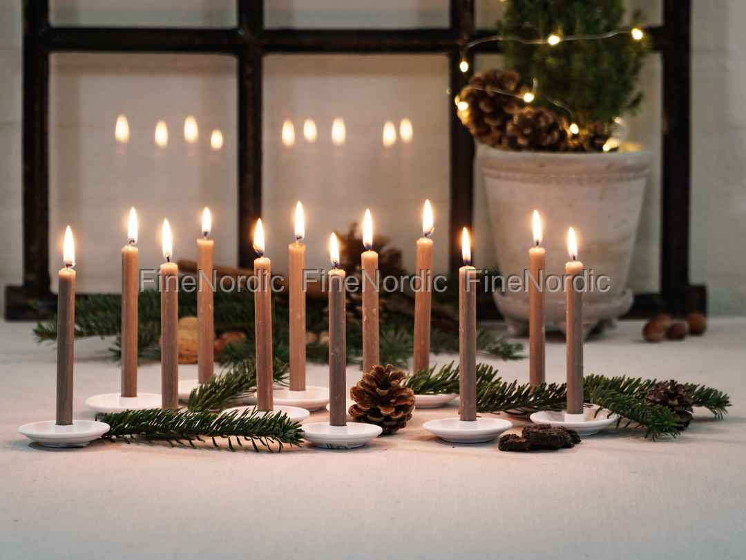 Chic Antique Christmas Tree Candles Flax 12 Pcs