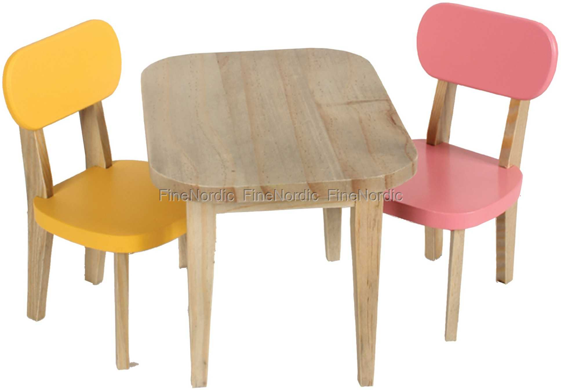 Maileg Rabbit Wooden Table and 2 Chairs Yellow and Pink Buy