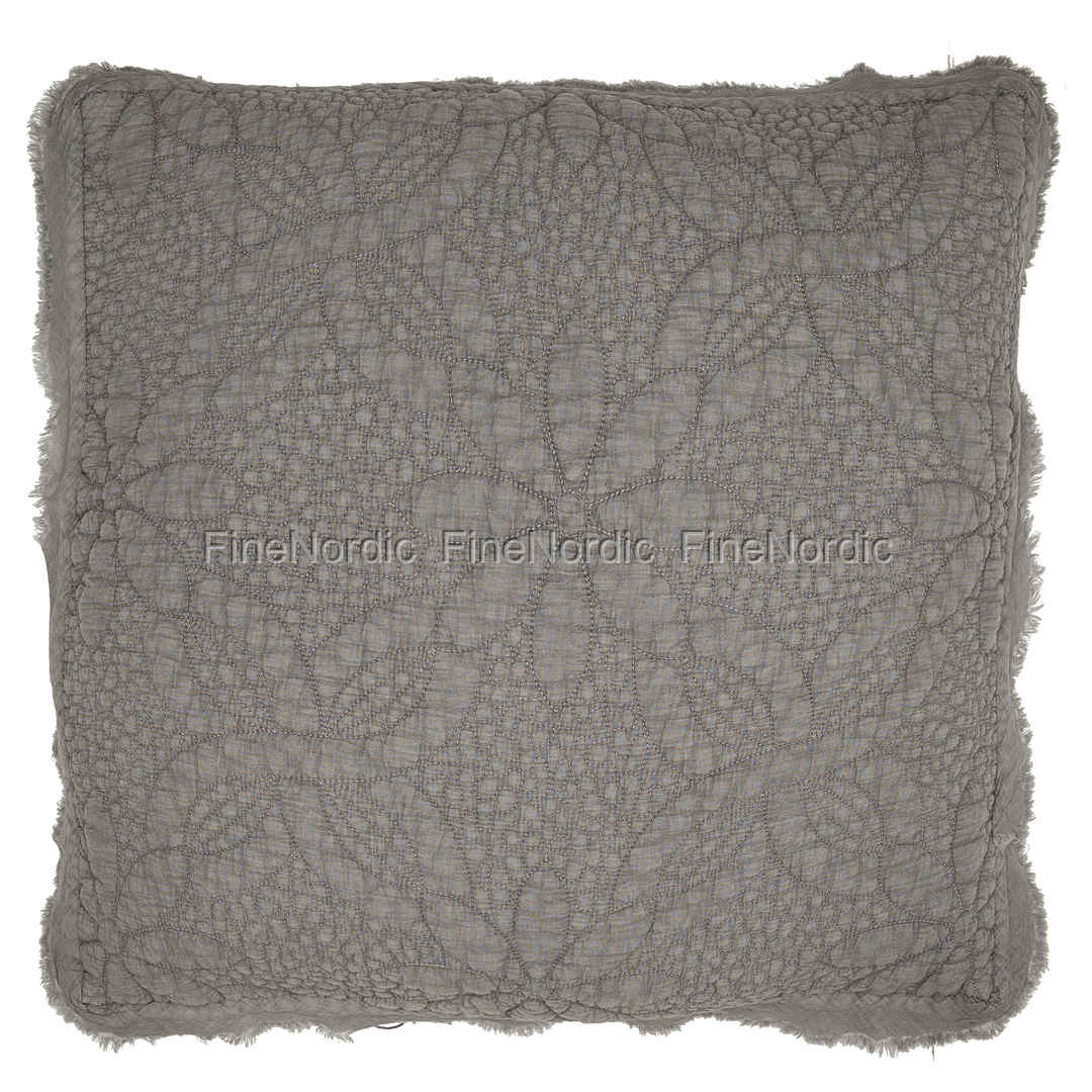 GreenGate Quilted Cushion Warm Grey with Raw Edge 50 x 50 cm : quilted cushions - Adamdwight.com