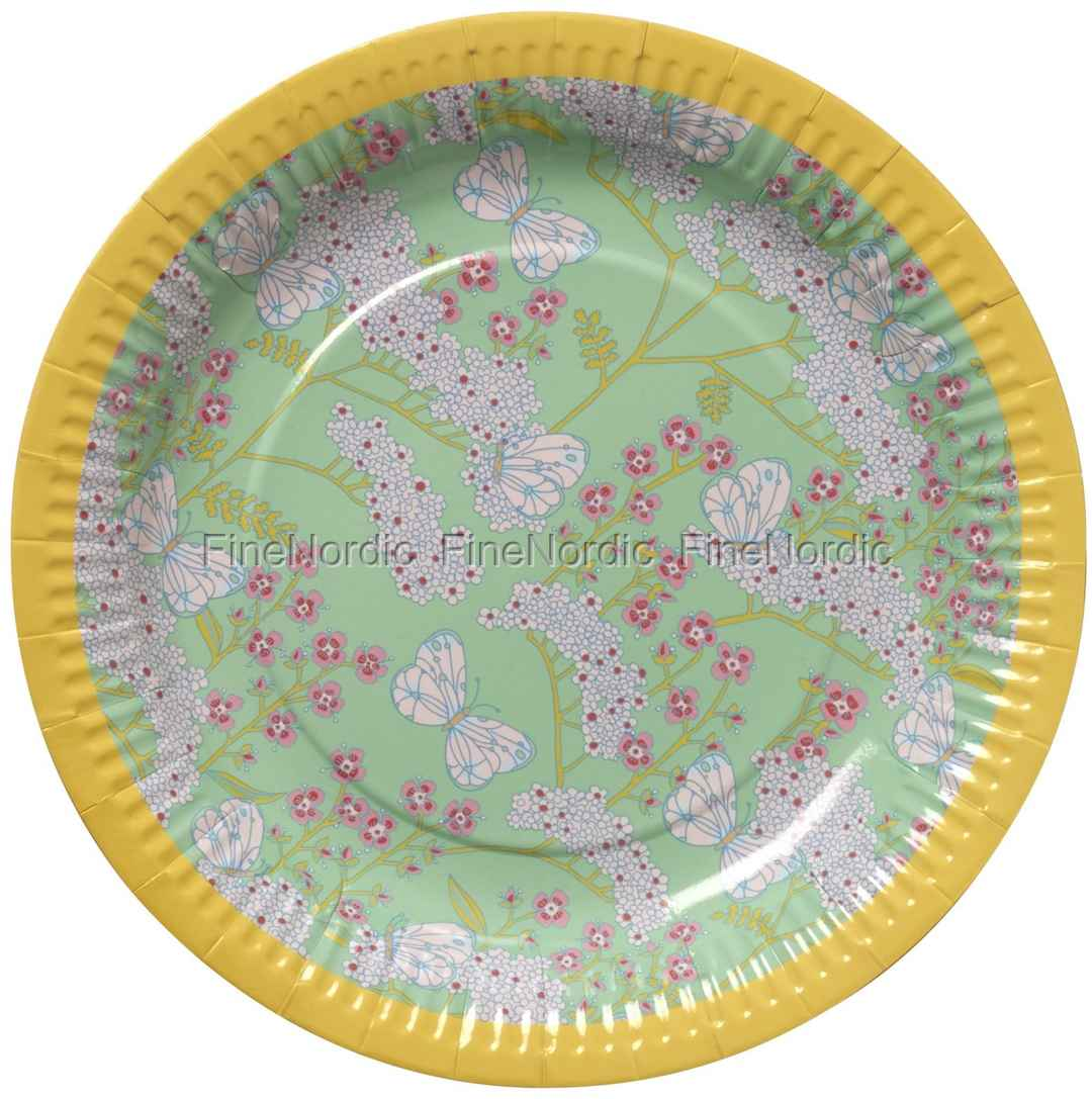 Rice Paper Plates In Butterfly And Flower Print 8 Pcs