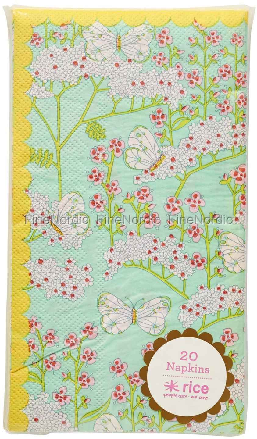 Rice Lunch Paper Napkins Butterfly And Flower Print 20 Pcs