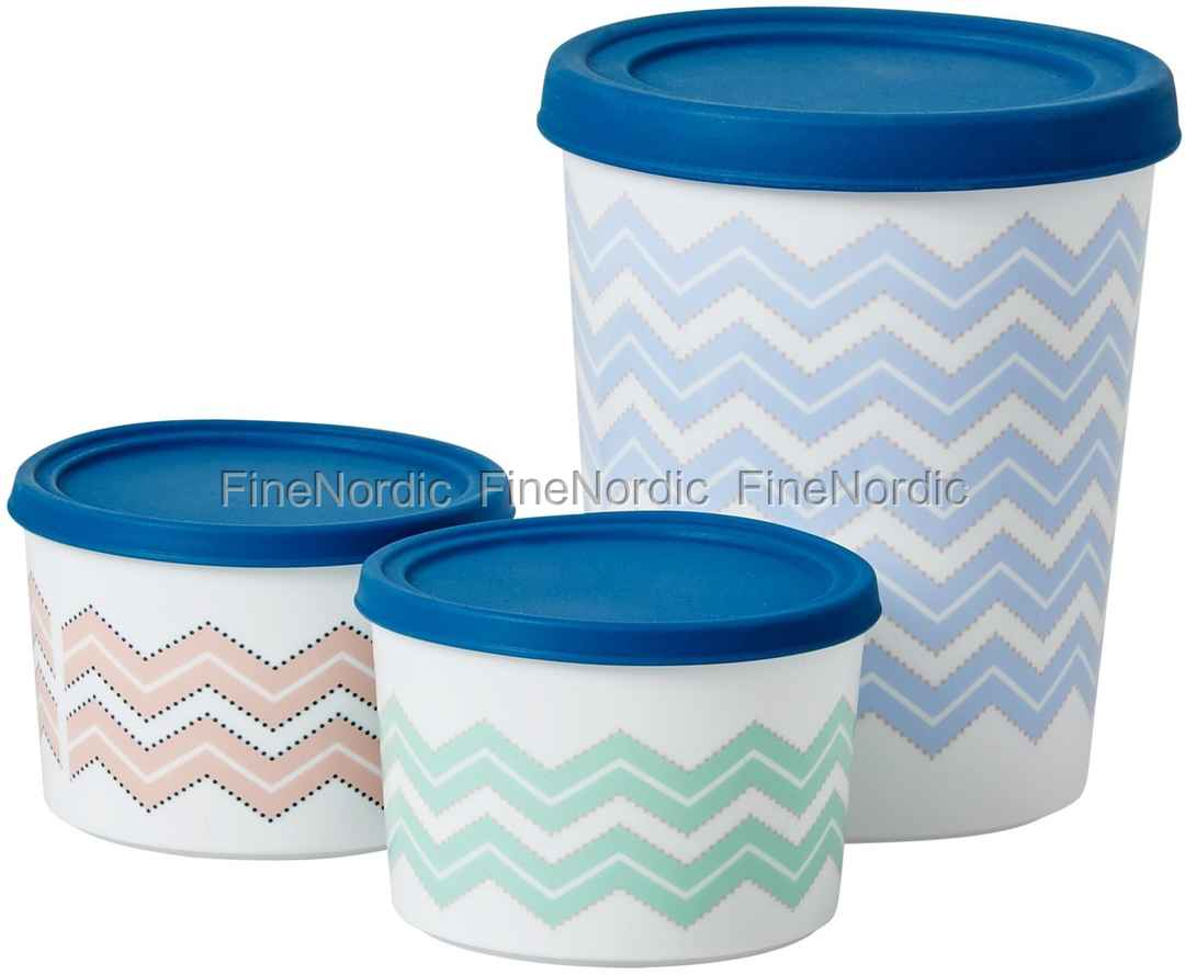 Rice Round Plastic Food Container with Silicone Lid Set of 3