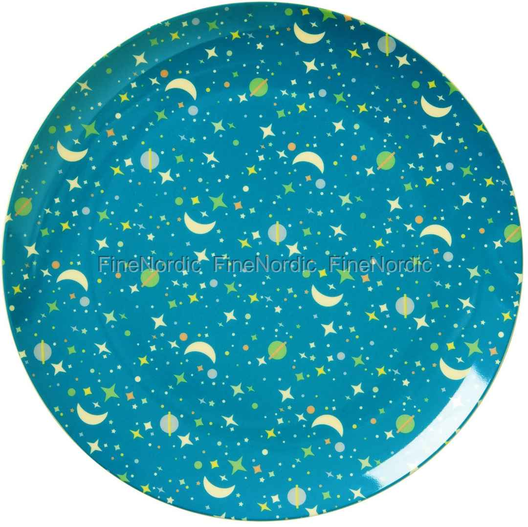 rice kids melamine lunch plate with universe print blue