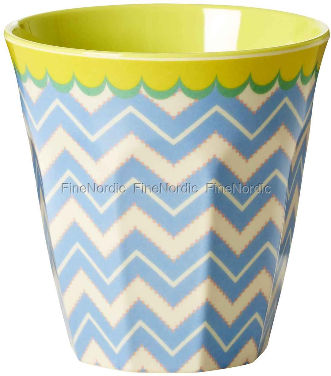 rice melamine medium cup two tone with chevron print