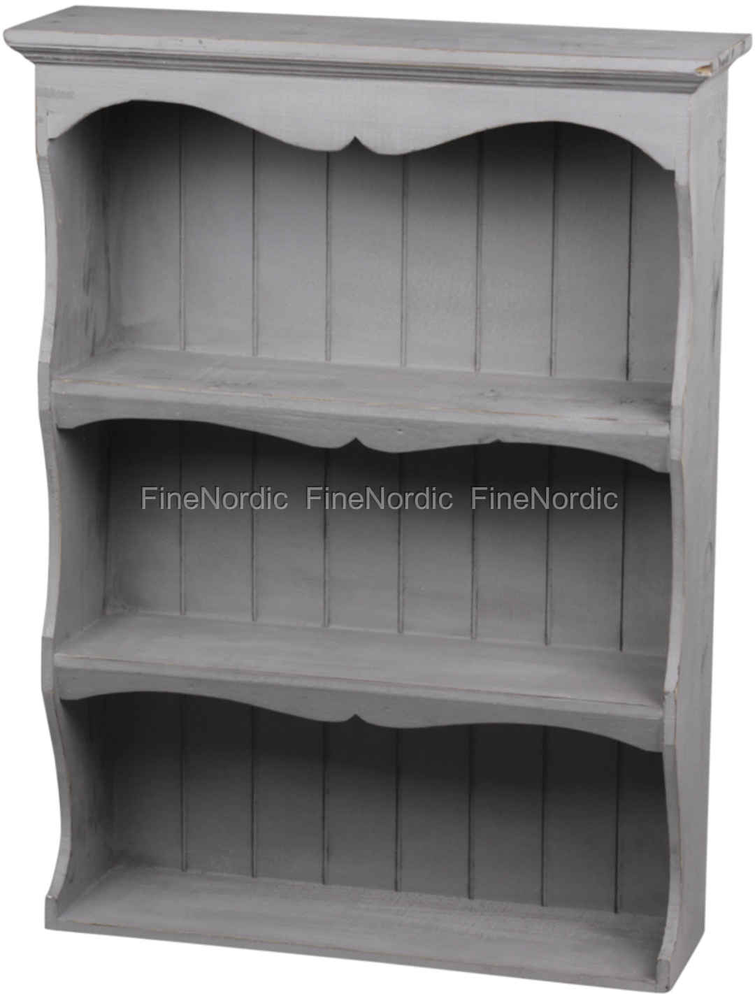 Chic Antique Book Case With 3 Shelves French Grey