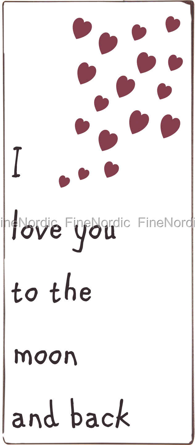 Ib Laursen Metal Sign I Love You To The Moon And Back