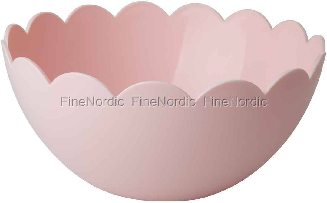 rice plastic salad bowl with scallop edge pink