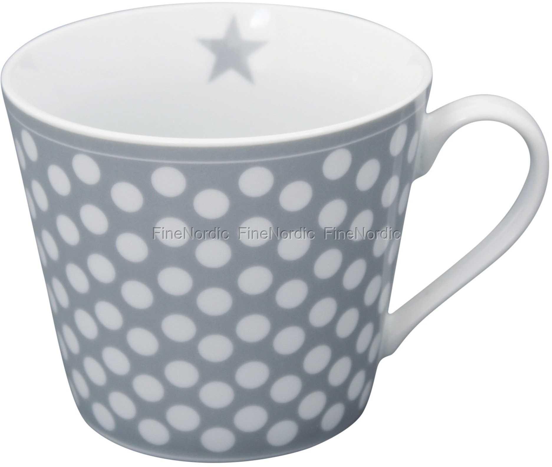 Krasilnikoff Happy Mug Mug Dots Light Grey White Cup Porcelain Grey