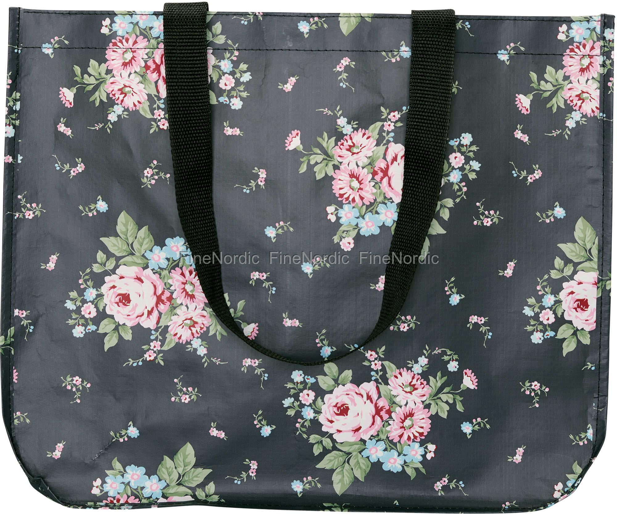 GreenGate Shopper Bag Marley Dark Grey Round Bottom