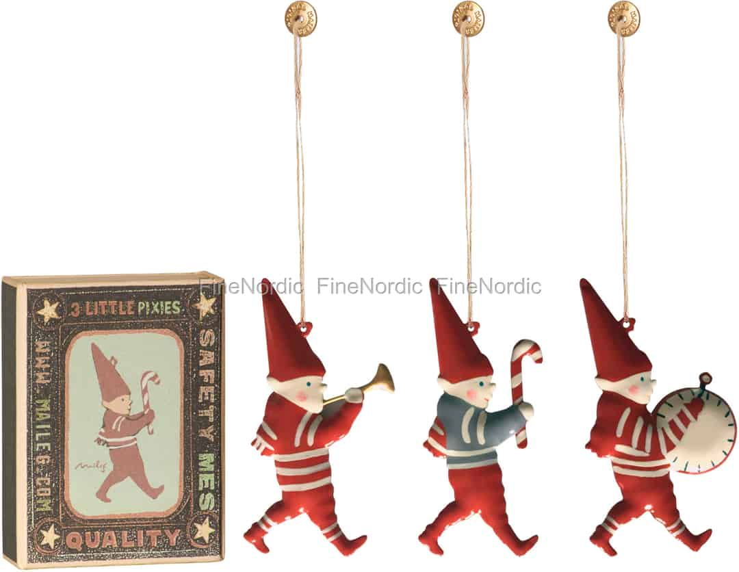 Maileg Christmas Decoration - 3 Metal Pixies in a box
