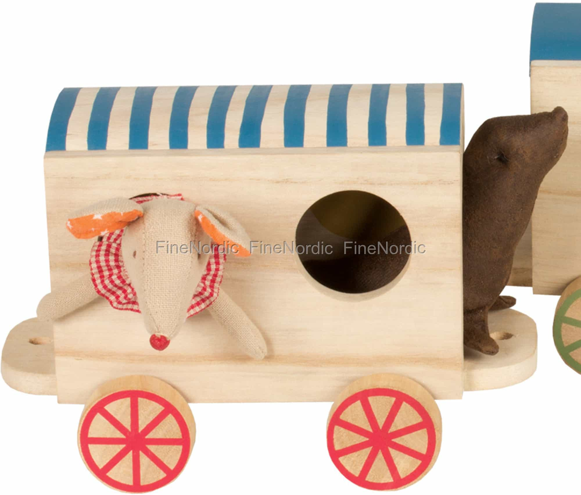 Maileg Circus Wagon For Mice Mini Striped Roof Red Wheels