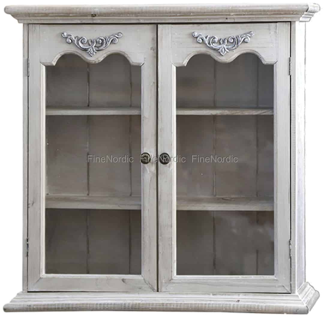 Chic Antique Cabinet For Wall With 2 Glass Doors Nature