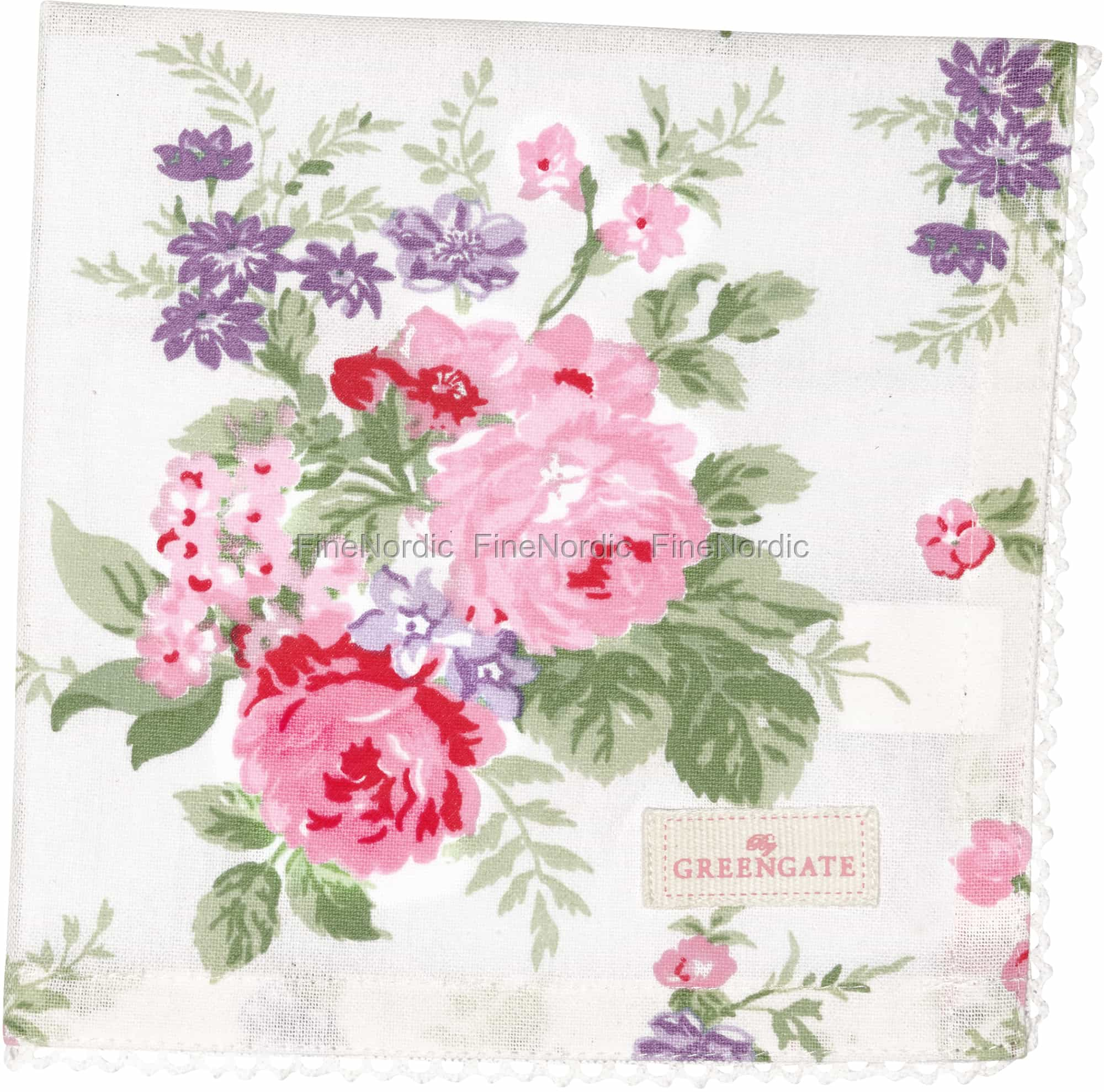 Greengate Cloth Napkin With Lace Rose White