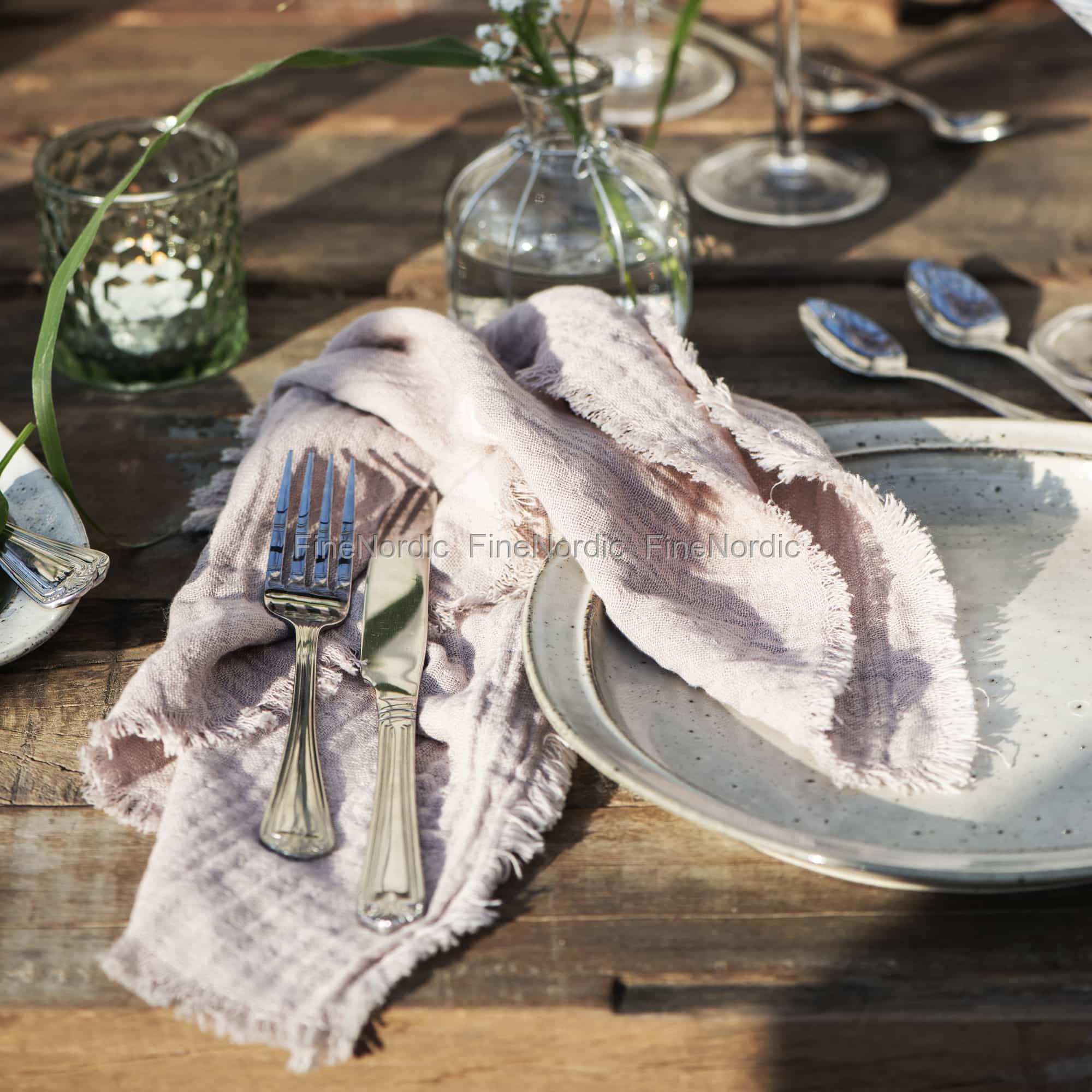 Ib Laursen Cloth Napkin Double Weaving Rose