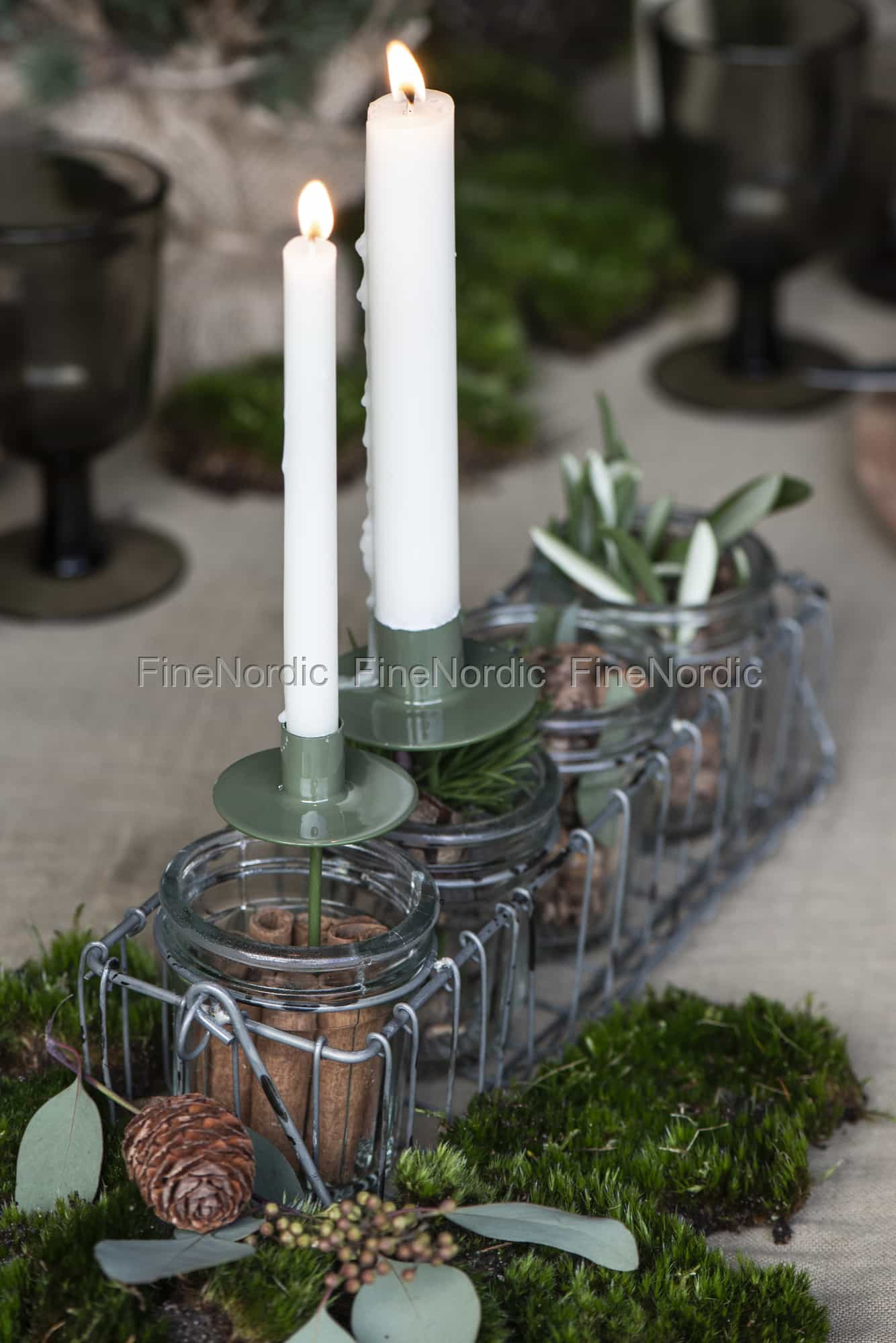 Ib Laursen Advent Candle Holder With 4 Glass Holders For Tealights Wire Basket