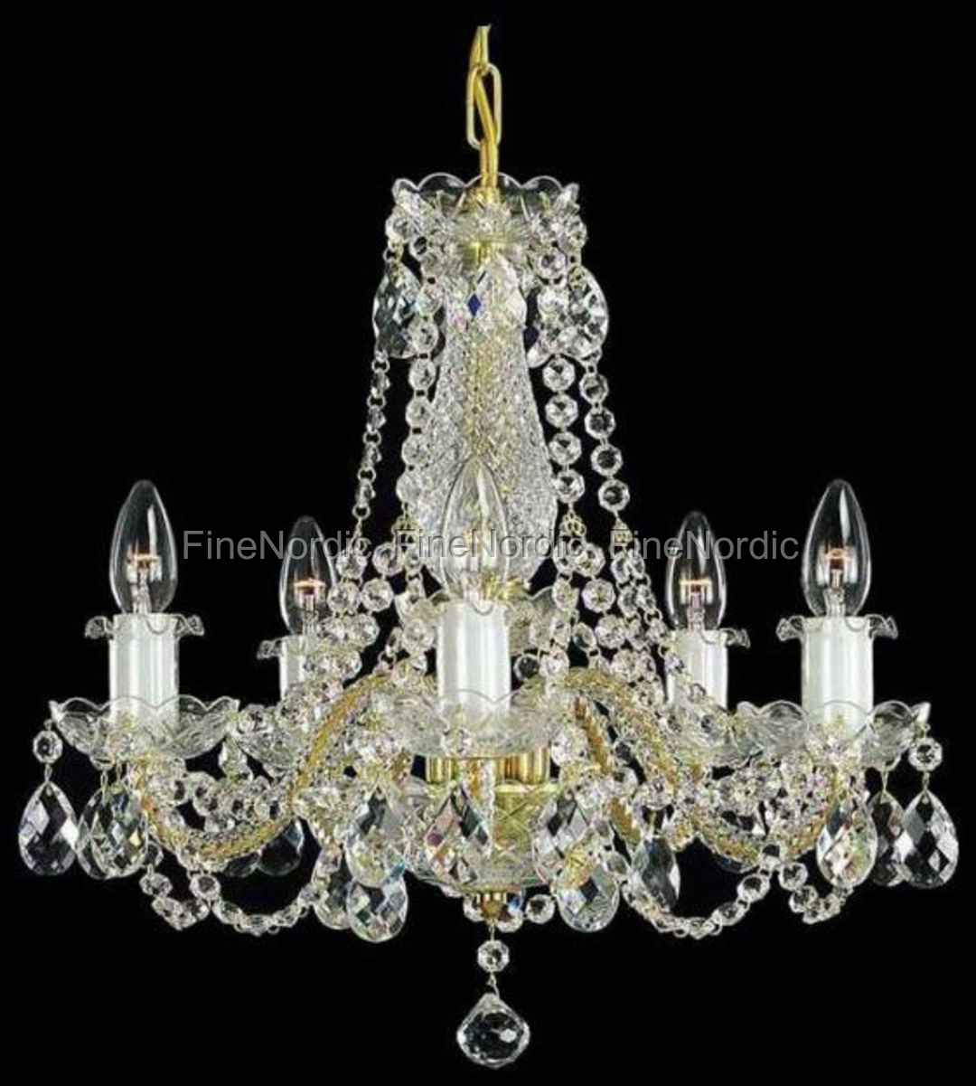 Crystal chandelier 5 arms gold finish swarovski crystal