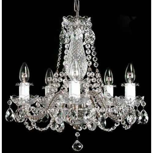 crystal chandelier 5 arms silver finish swarovski crystal - Swarovski Crystal Chandelier