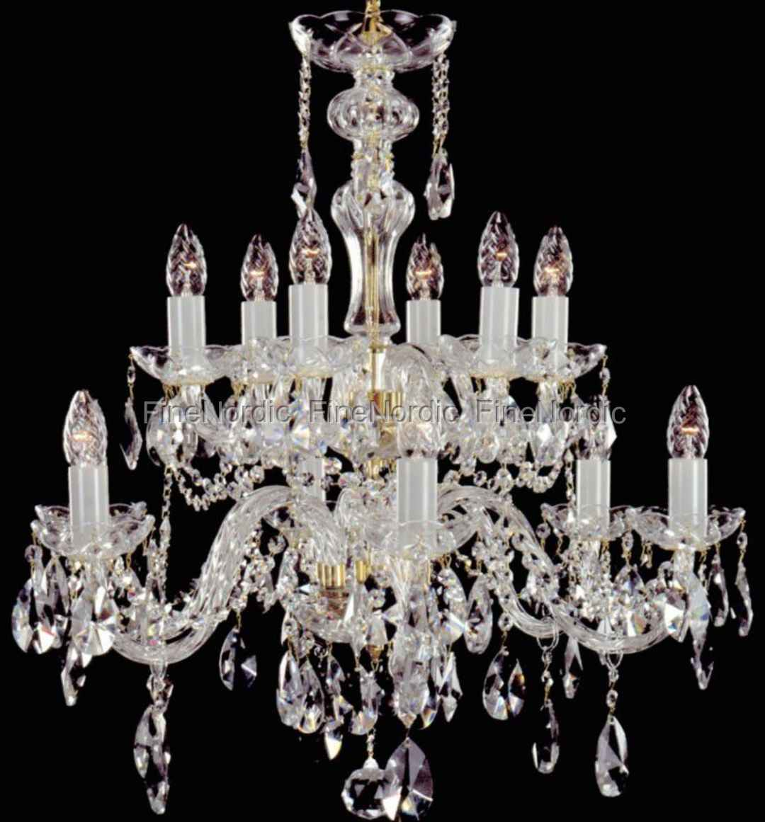 Crystal chandelier 12 arms 6 6 gold finish swarovski crystal