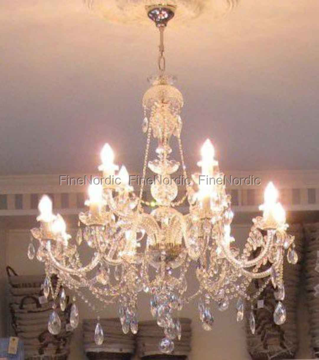 Crystal chandelier 12 arms silver finish swarovski crystal mozeypictures Choice Image