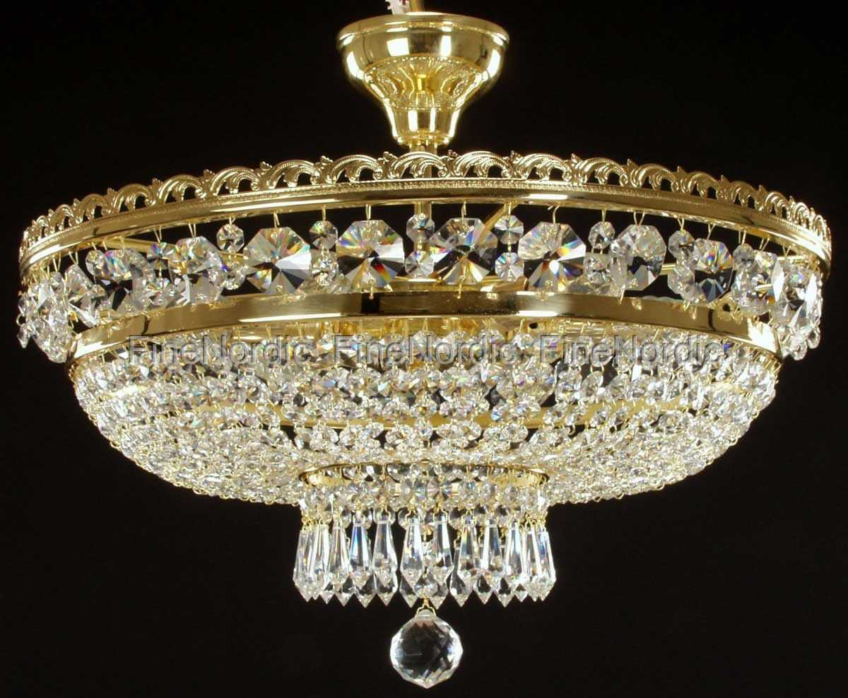 Crystal Chandelier Ceiling Mount With 6 Lights Gold