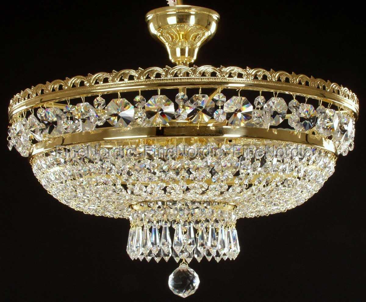 crystal chandelier ceiling mount with 6 lights gold finish swarovski cr. Black Bedroom Furniture Sets. Home Design Ideas