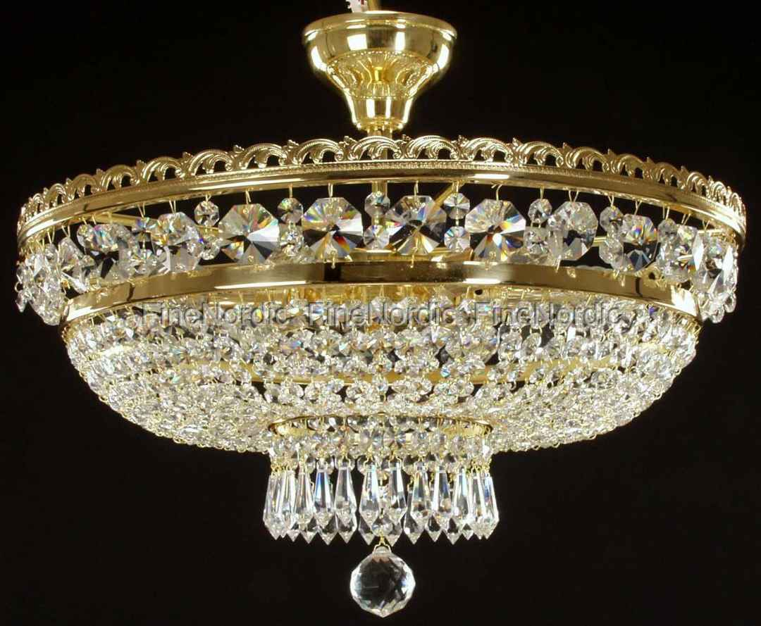crystal chandelier with 6 lights gold finish swarovski crystal - Swarovski Crystal Chandelier