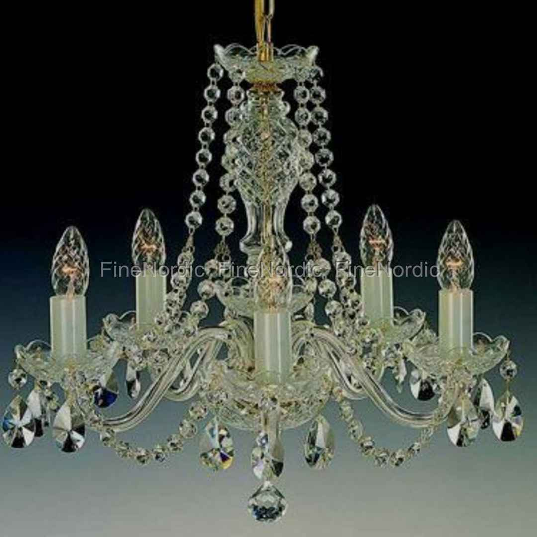 Crystal chandelier 5 arms gold finish swarovski crystal l 111502 mozeypictures Choice Image