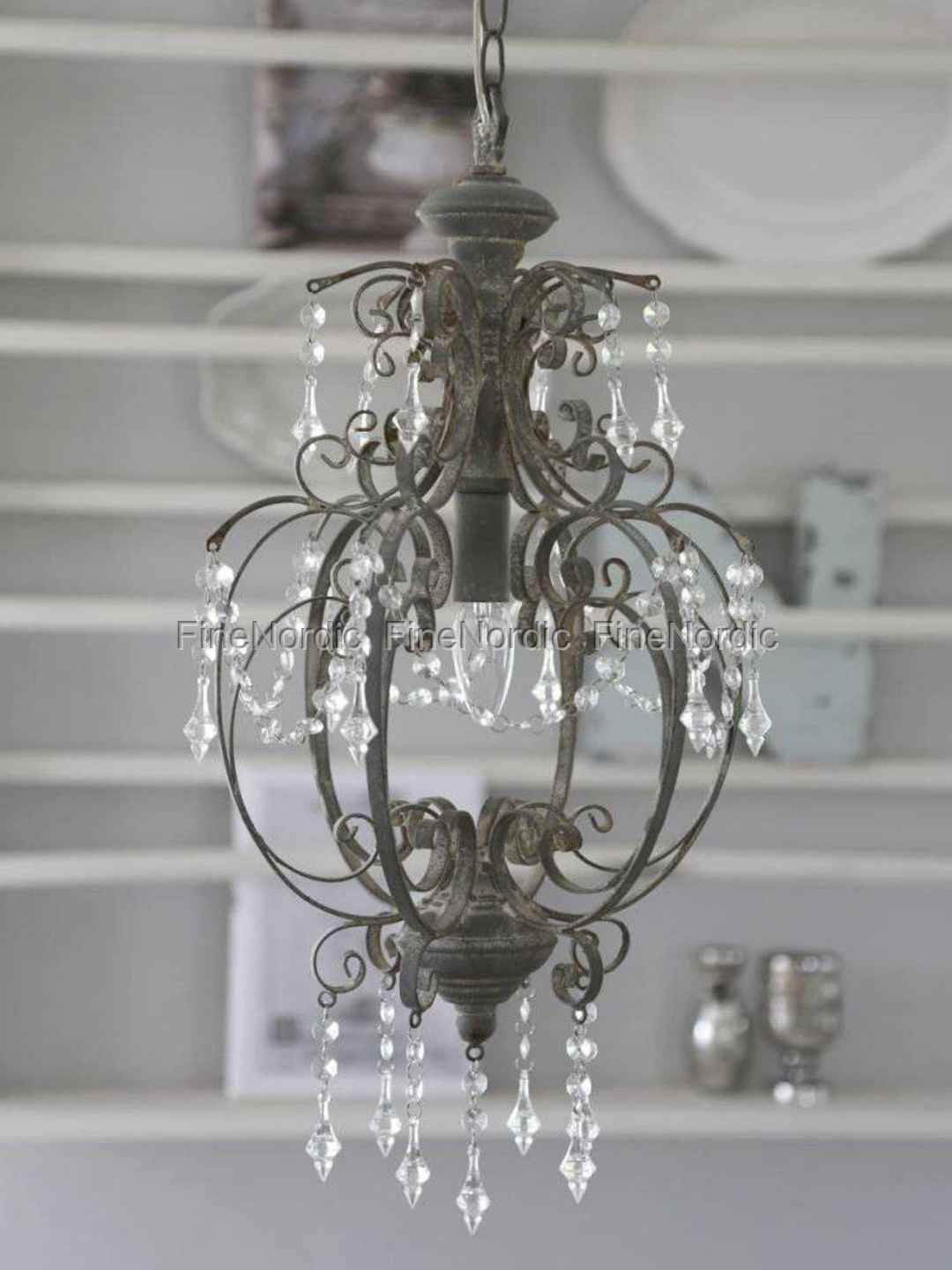 chic antique chandelier with prisms antique grey. Black Bedroom Furniture Sets. Home Design Ideas