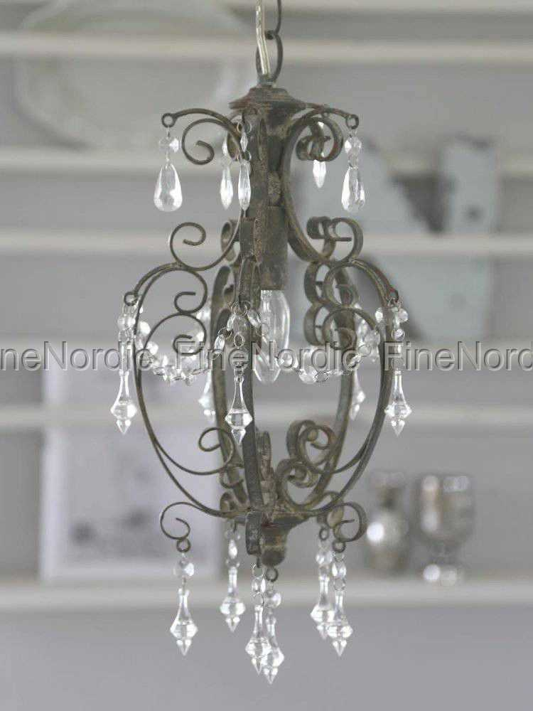 chic antique chandelier with prisms antique grey small. Black Bedroom Furniture Sets. Home Design Ideas