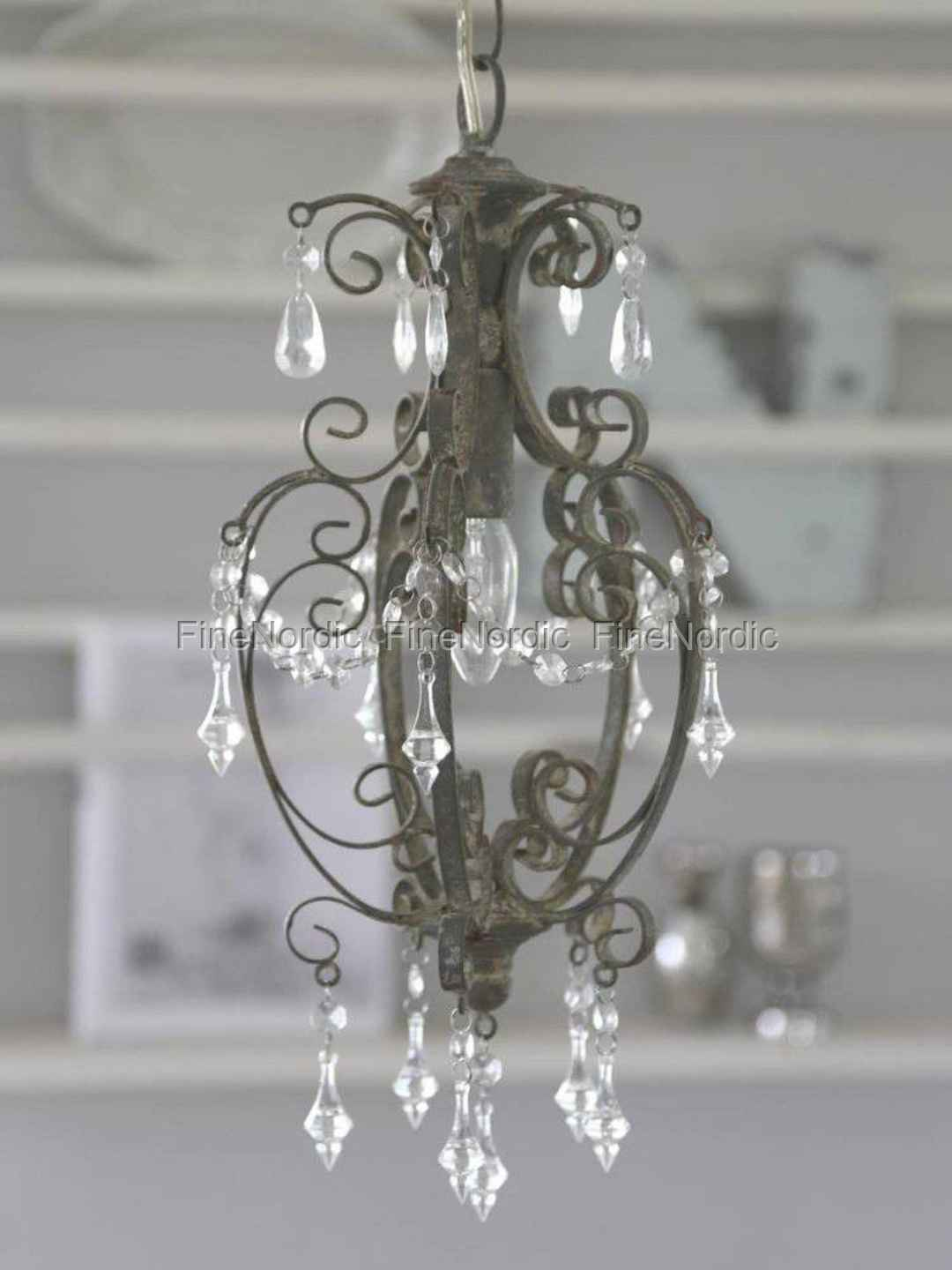 Chic Antique Chandelier With Prisms Grey Small