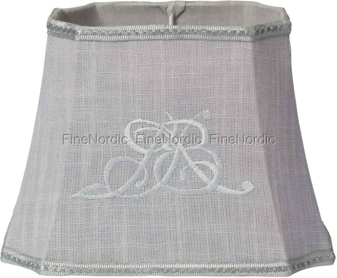 Lene bjerre lampshade plain with monogram light grey mozeypictures Image collections