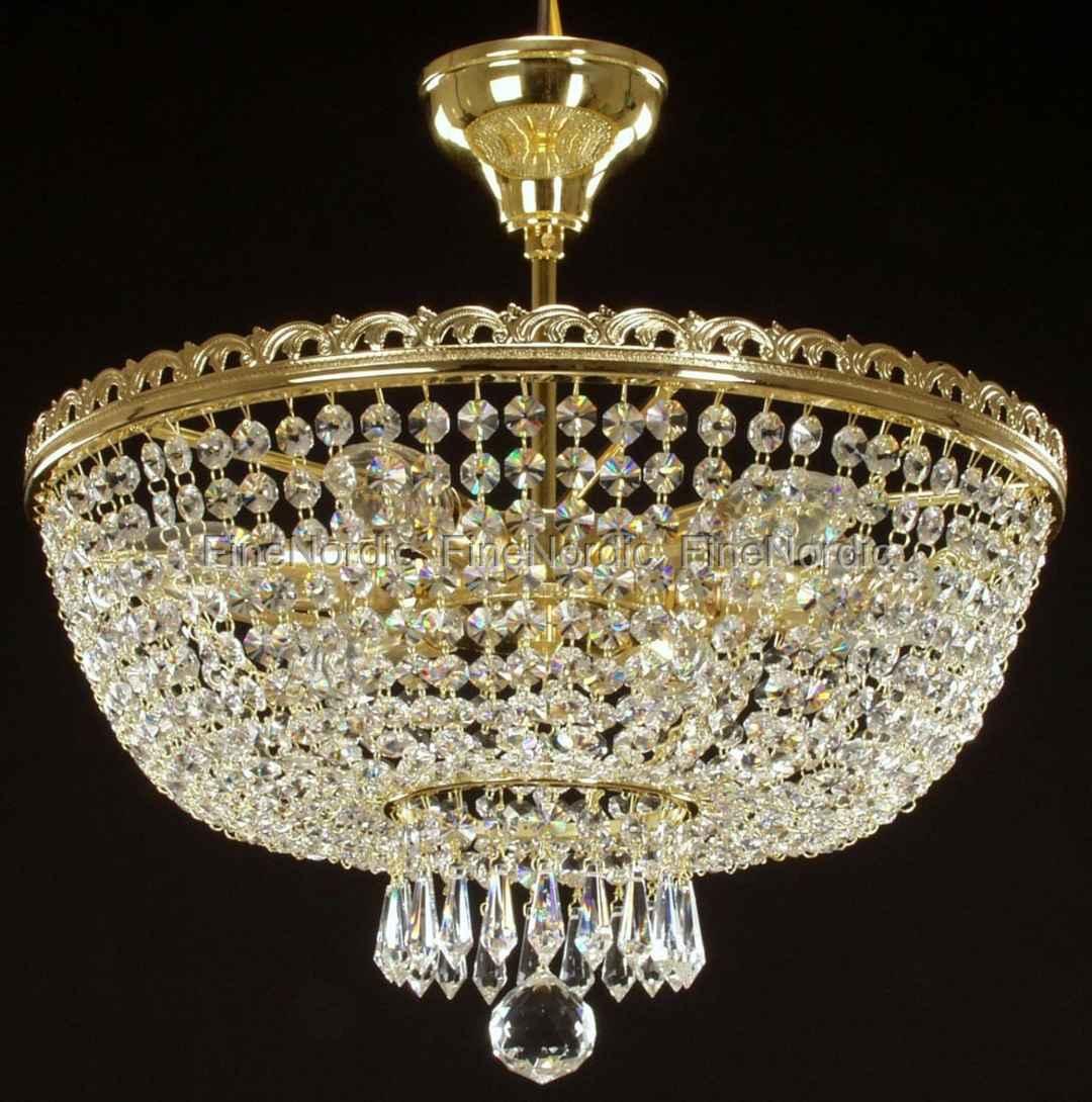Crystal Chandelier Ceiling Mount With 6 Lights Gold Finish Swarovski